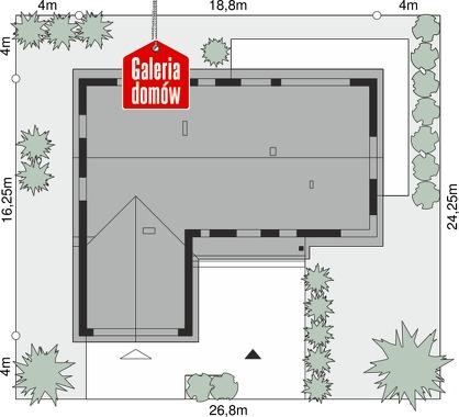 Dom przy Bukowej 36 - wymiary na działce