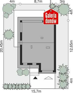 Dom przy Amarantowej 16 - wymiary na działce