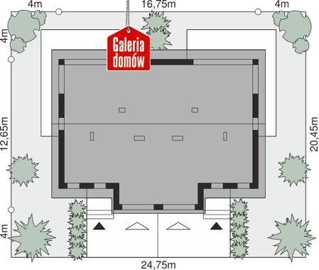 Dom przy Amarantowej 16 dwulokalowy - wymiary na działce