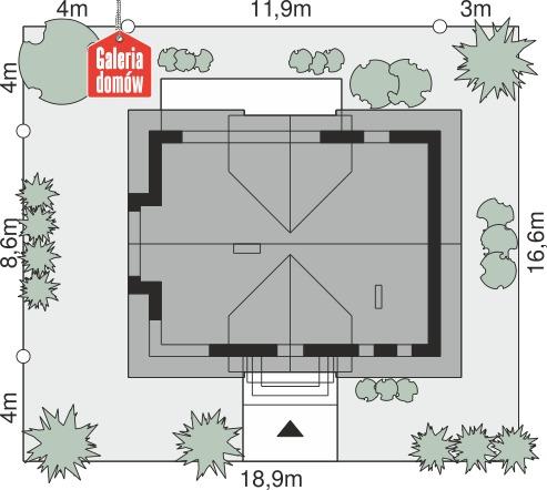 Dom przy Modrzewiowej 18 - wymiary na działce