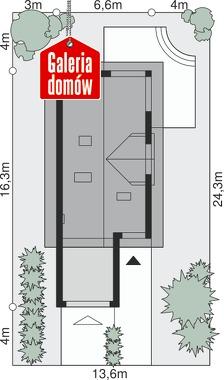 Dom przy Migdałowej 4 - wymiary na działce