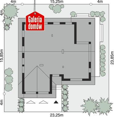 Dom przy Bukowej 37 - wymiary na działce