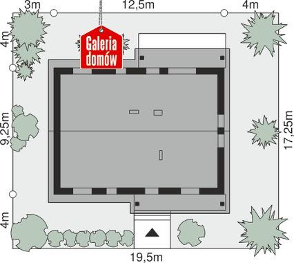 Dom przy Bukowej 39 - wymiary na działce