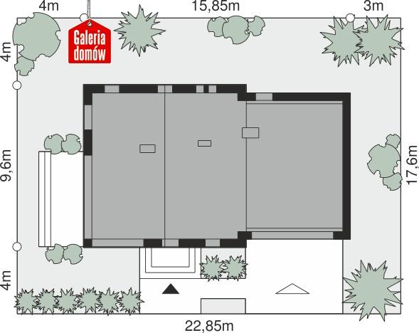 Dom przy Cyprysowej 58 - wymiary na działce