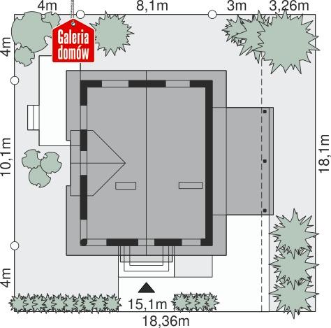 Dom przy Cyprysowej 59 - wymiary na działce