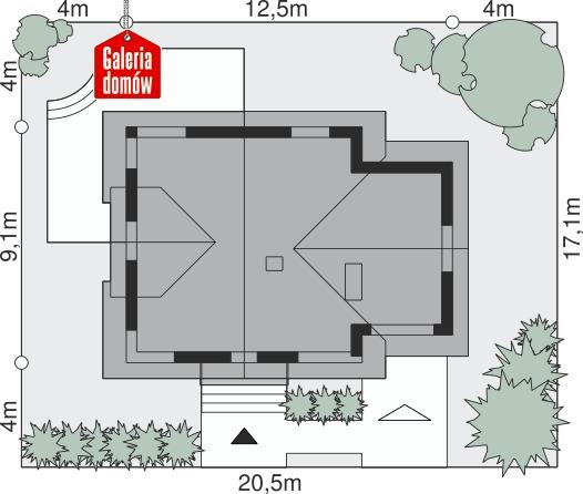 Dom przy Cyprysowej 60 - wymiary na działce