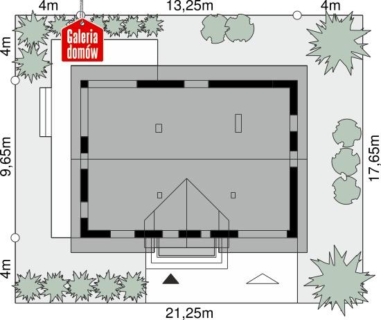 Dom przy Cyprysowej 101 - wymiary na działce