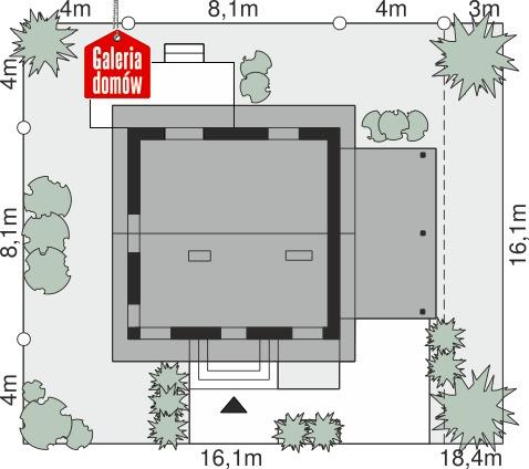 Dom przy Wiosennej 21 - wymiary na działce