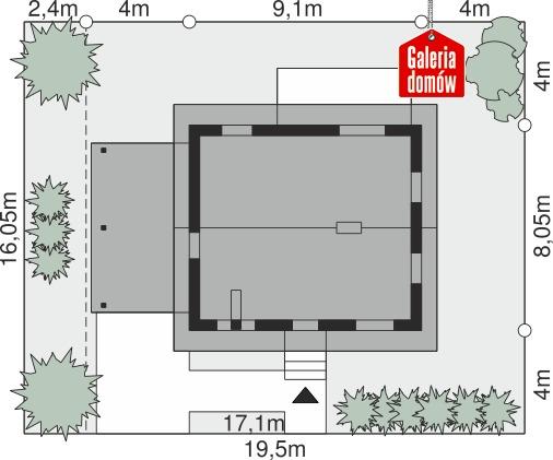 Dom przy Topolowej 5 - wymiary na działce
