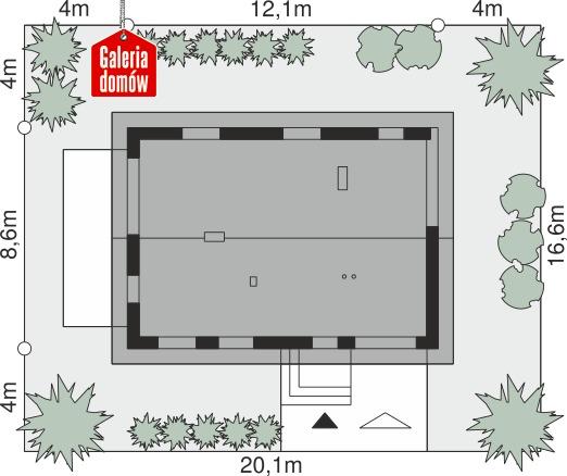 Dom przy Głogowej 5 - wymiary na działce