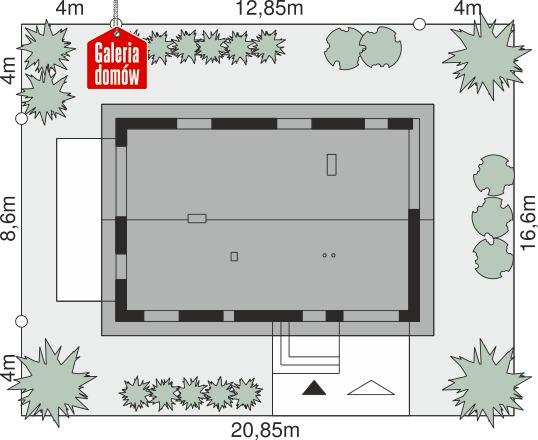Dom przy Głogowej 6 - wymiary na działce