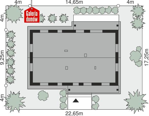 Dom przy Bukowej 43 - wymiary na działce