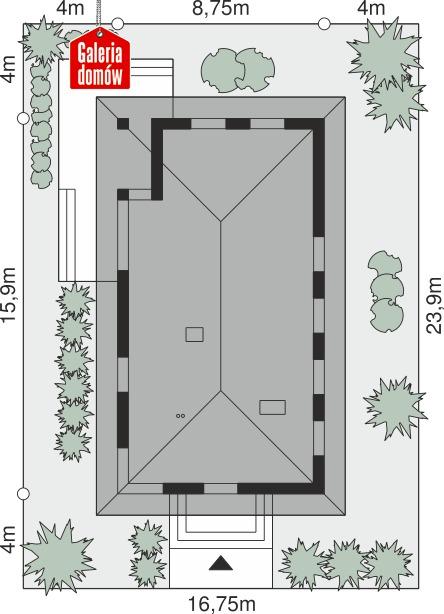 Dom przy Pastelowej 21 - wymiary na działce