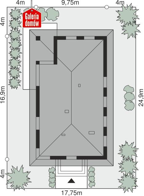 Dom przy Pastelowej 23 - wymiary na działce