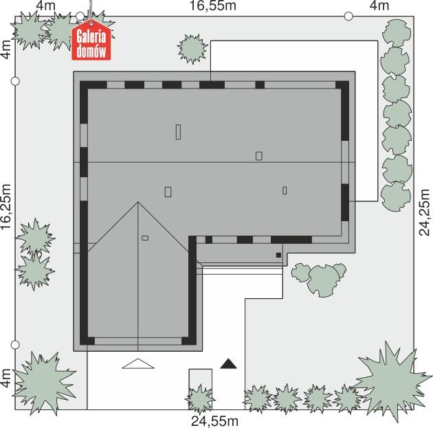 Dom przy Bukowej 48 - wymiary na działce