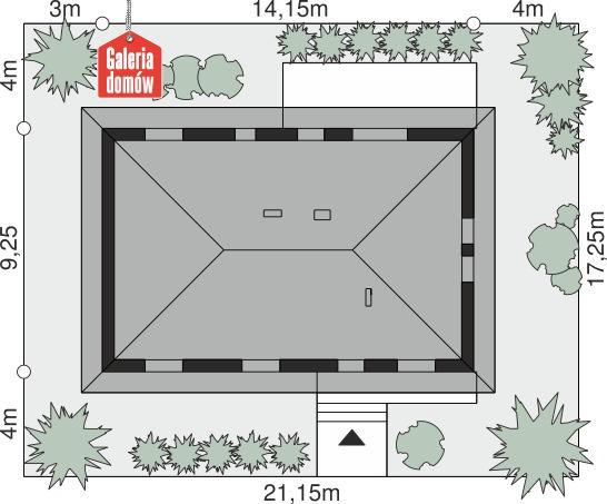 Dom przy Bukowej 45 - wymiary na działce