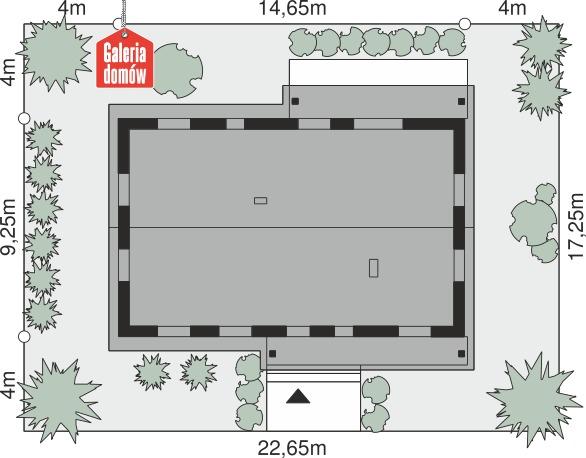 Dom przy Bukowej 49 - wymiary na działce