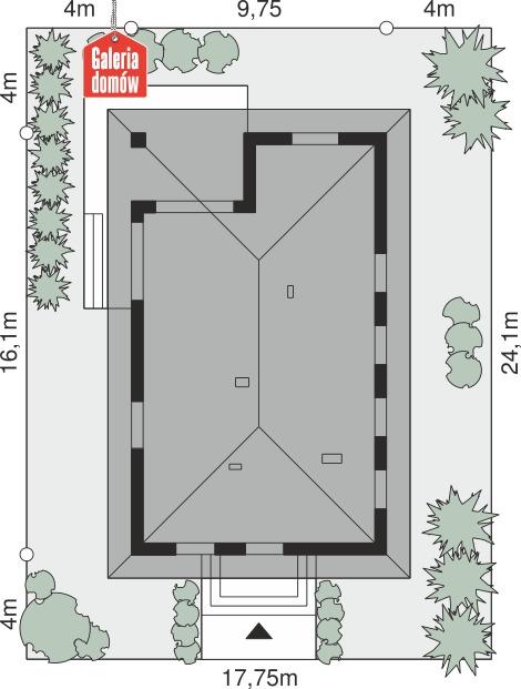 Dom przy Pastelowej 25 - wymiary na działce