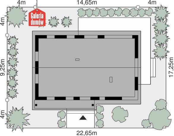 Dom przy Bukowej 50 - wymiary na działce