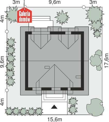 Dom przy Cyprysowej 61 - wymiary na działce