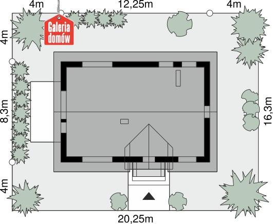 Dom przy Alabastrowej 61 - wymiary na działce