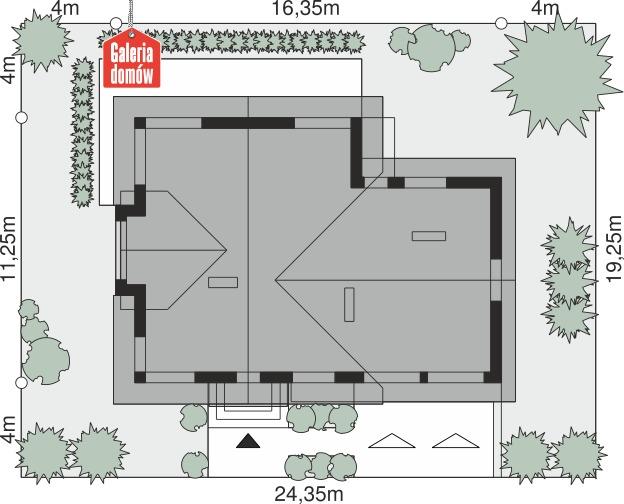 Dom przy Cyprysowej 62 - wymiary na działce
