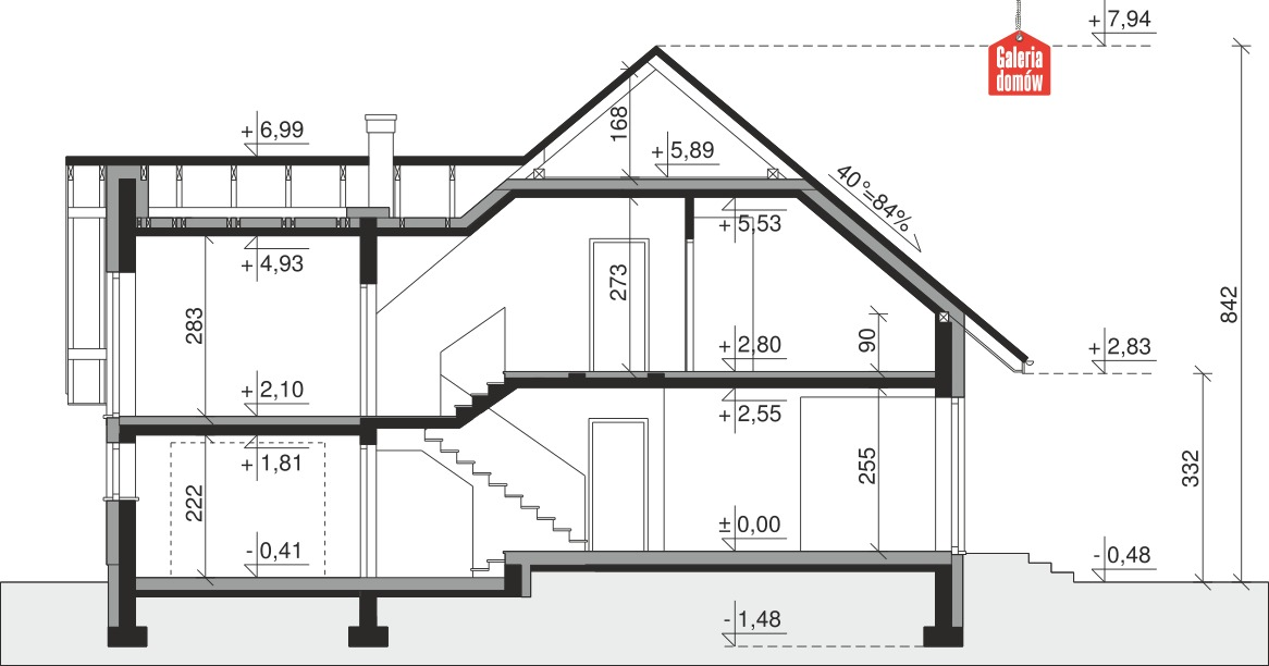 Dom przy Cyprysowej 63 - przekrój