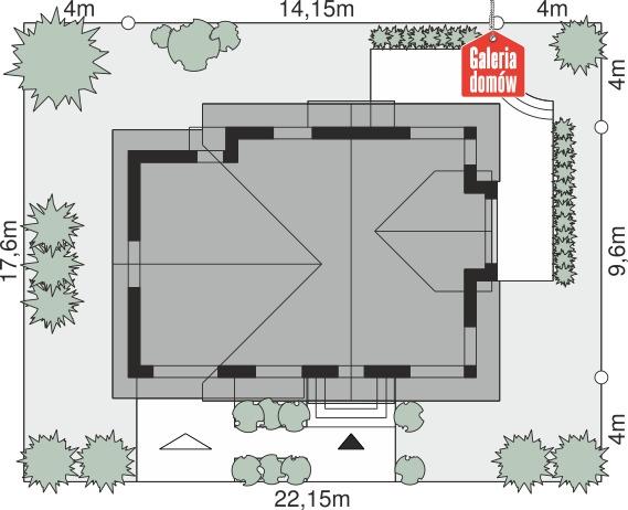 Dom przy Cyprysowej 63 - wymiary na działce