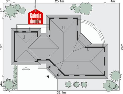 Dom przy Parkowej - wymiary na działce