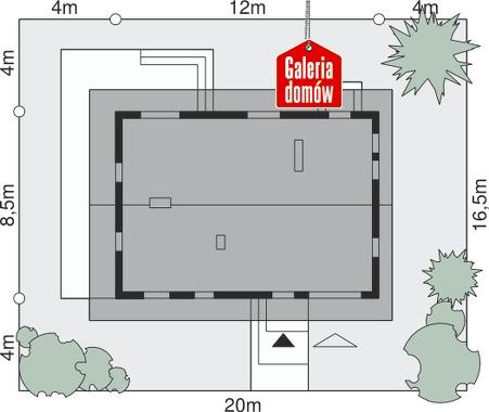 Dom przy Głogowej - wymiary na działce