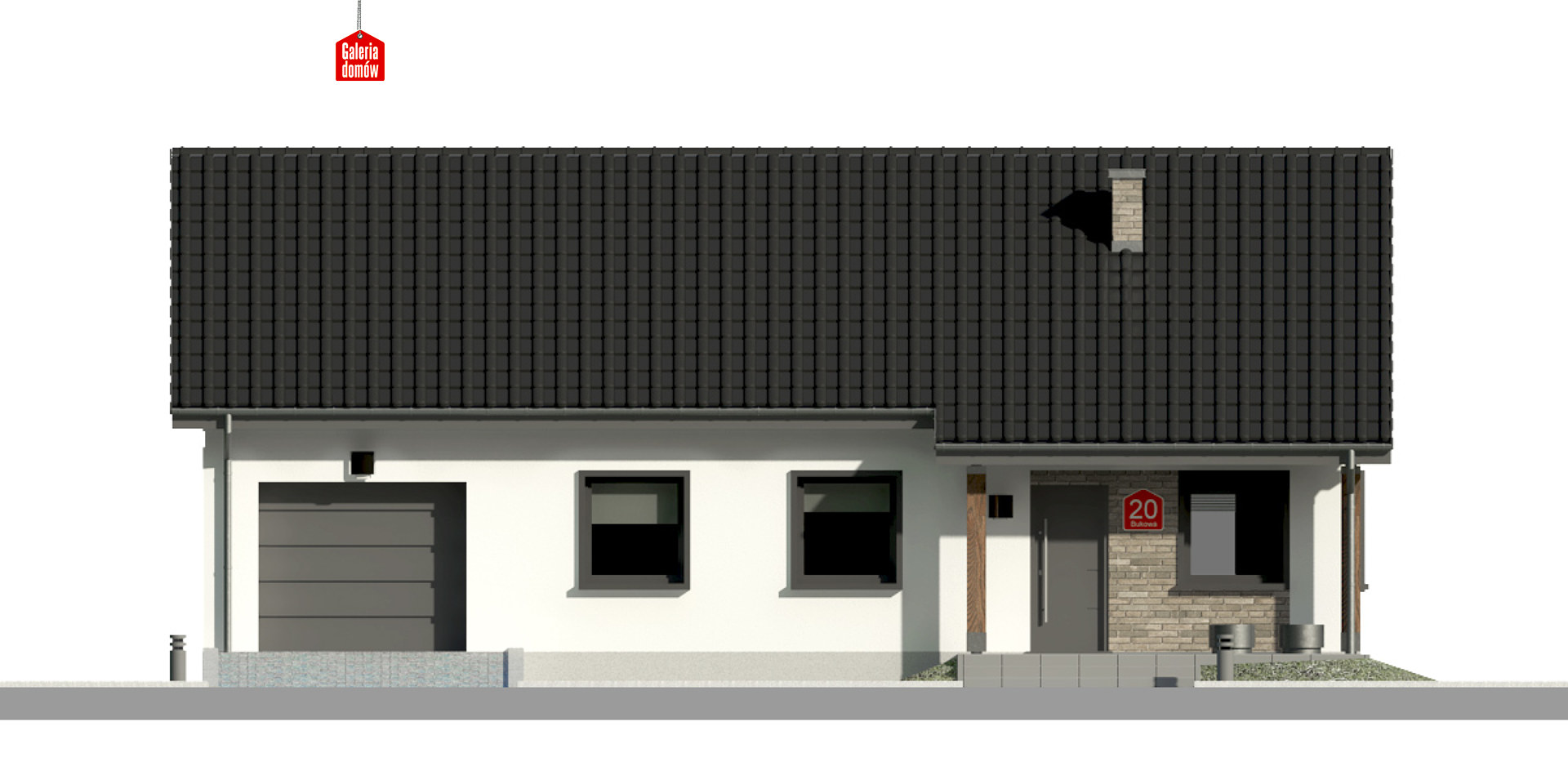 Dom przy Bukowej 20 - elewacja frontowa