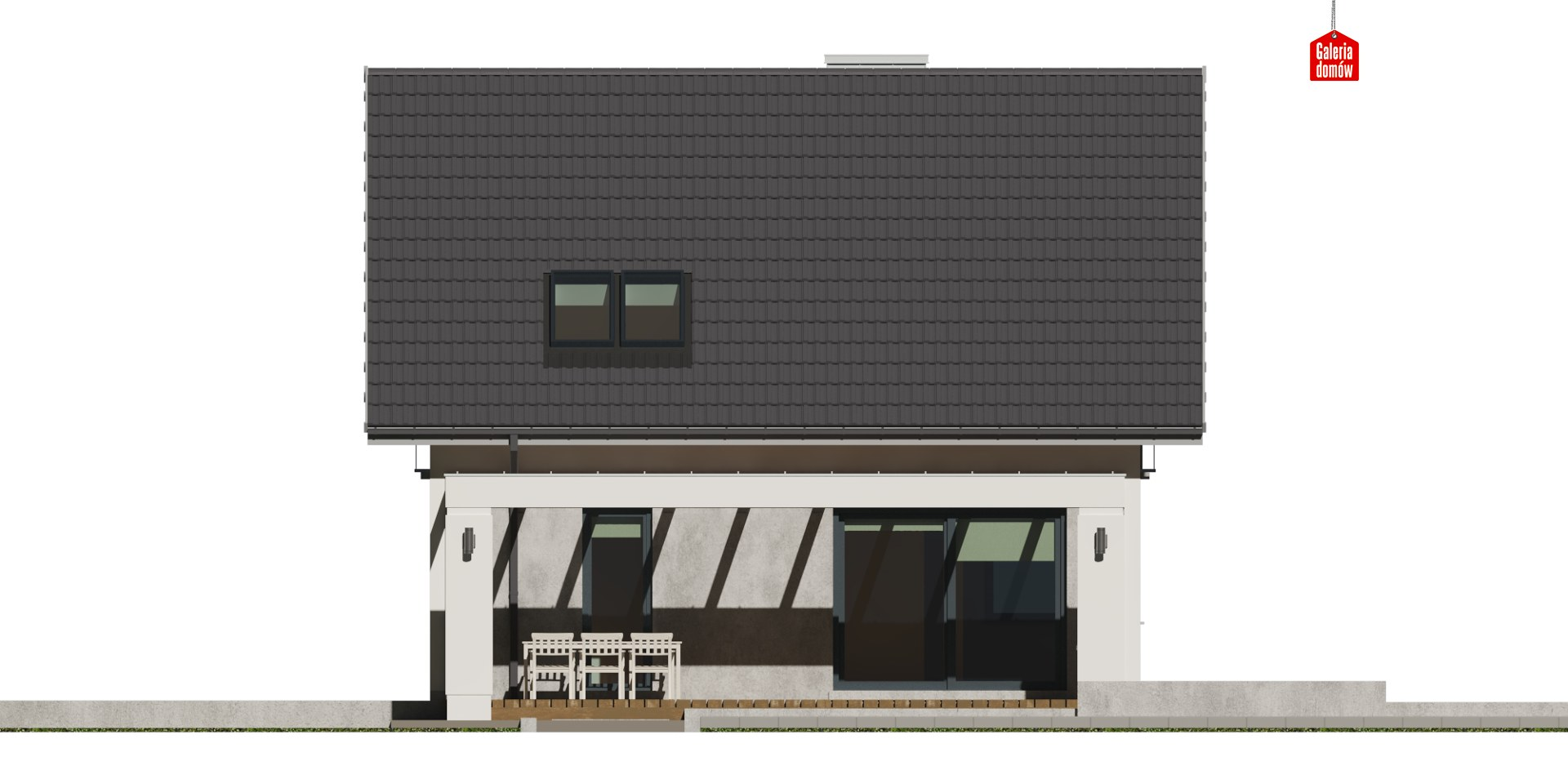 Dom przy Cyprysowej 56 - elewacja tylna