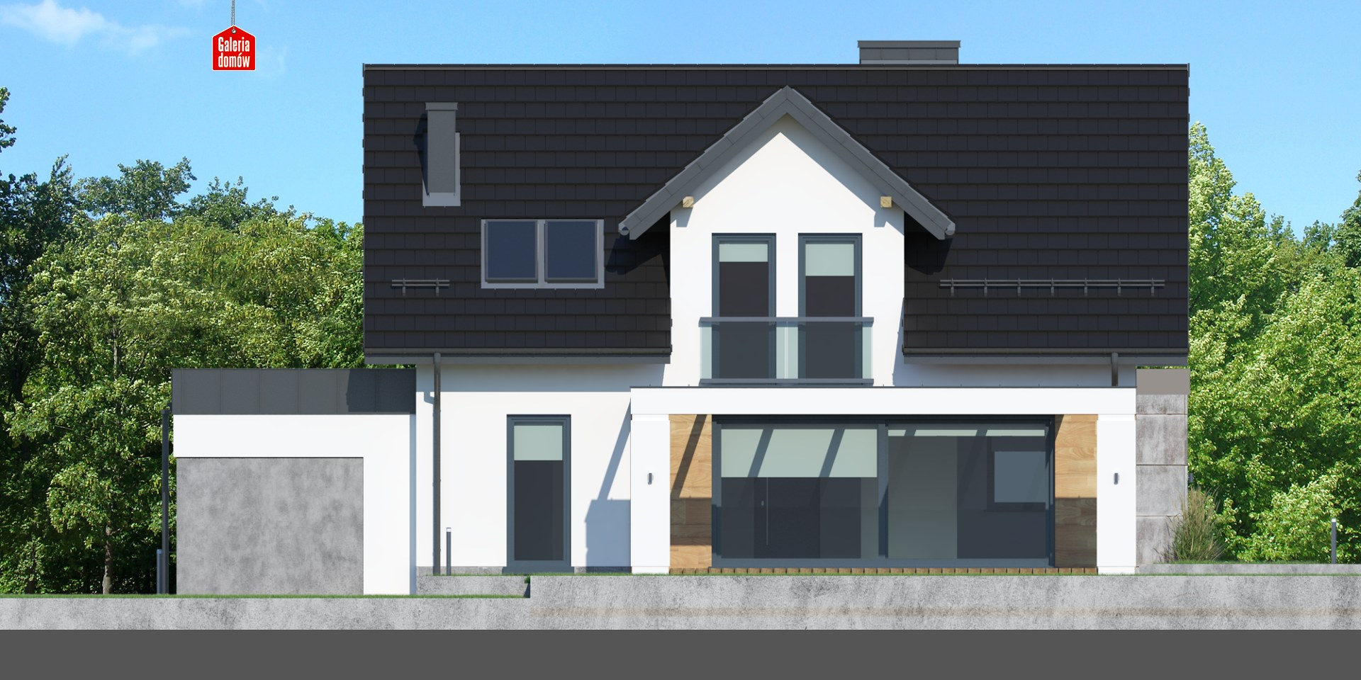 Dom przy Modrzewiowej 15 - elewacja tylna
