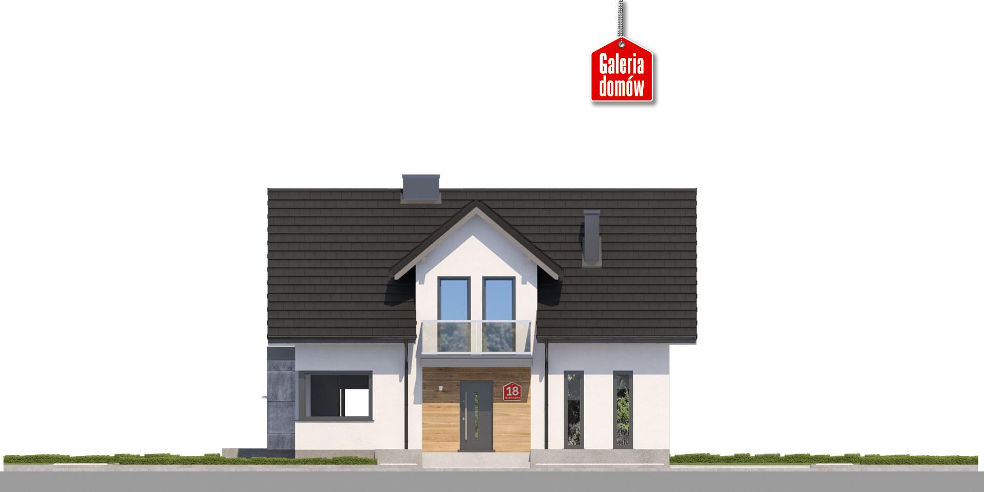 Dom przy Modrzewiowej 18 - elewacja frontowa