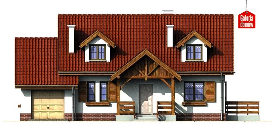 Dom przy Modrzewiowej - elewacja frontowa