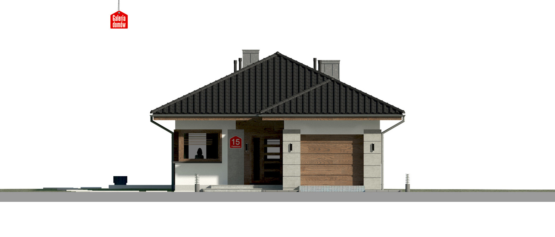 Dom przy Pastelowej 15 - elewacja frontowa