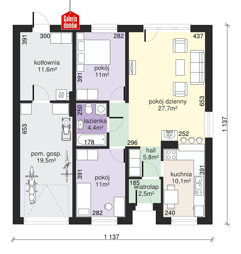 Dom przy Niezapominajek - rzut parteru