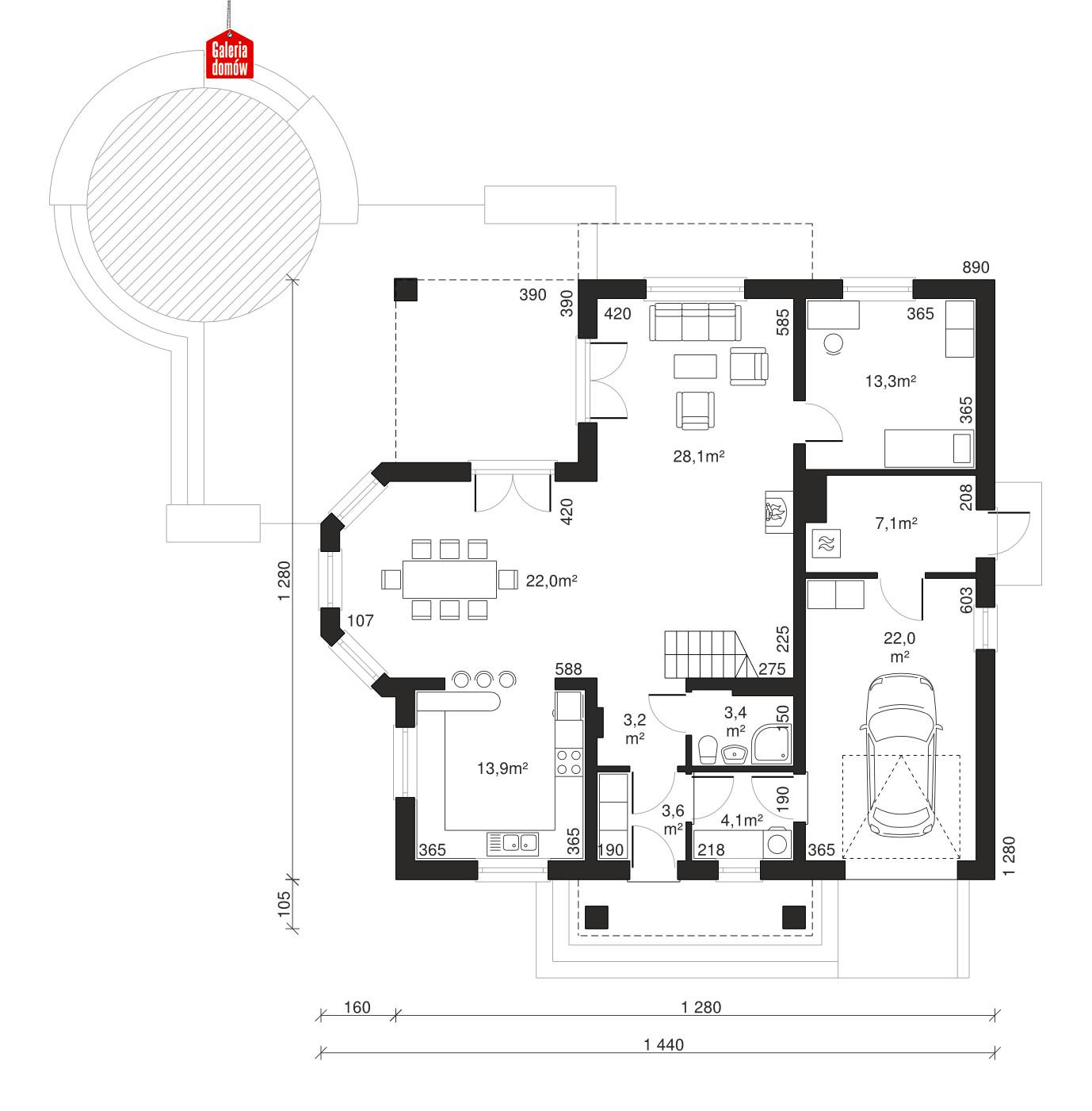 Dom przy Szmaragdowej - rzut parteru