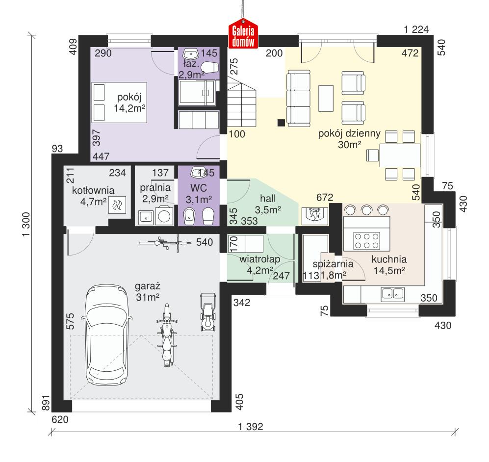 Dom przy Ciepłej - rzut parteru