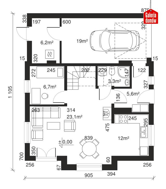 Dom przy Kalinowej 4 - rzut parteru