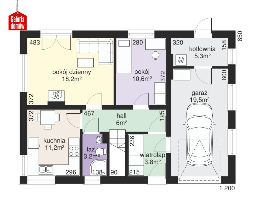 Dom przy Głogowej 2 - rzut parteru