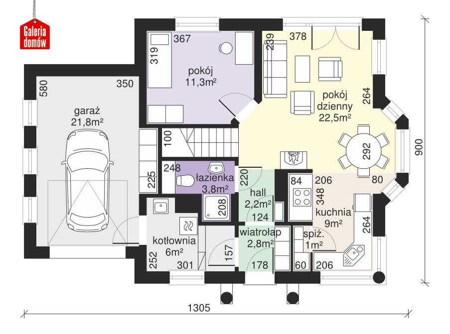 Dom przy Przyjaznej 4 - rzut parteru