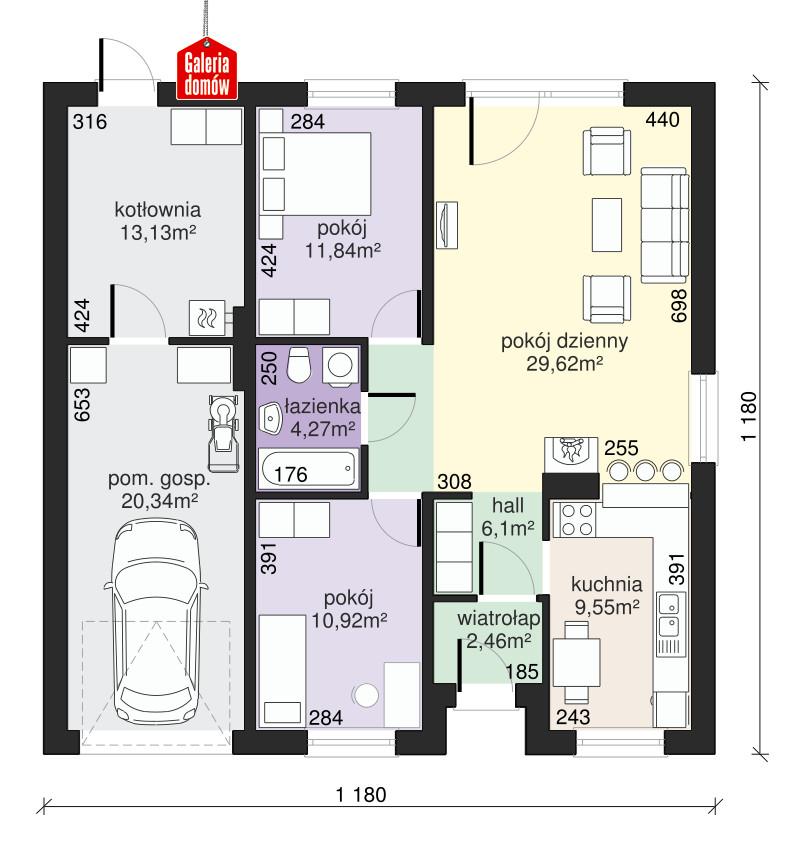 Dom przy Niezapominajek 2 - rzut parteru