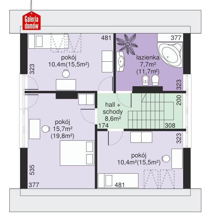 Dom przy Cyprysowej 23 - rzut poddasza