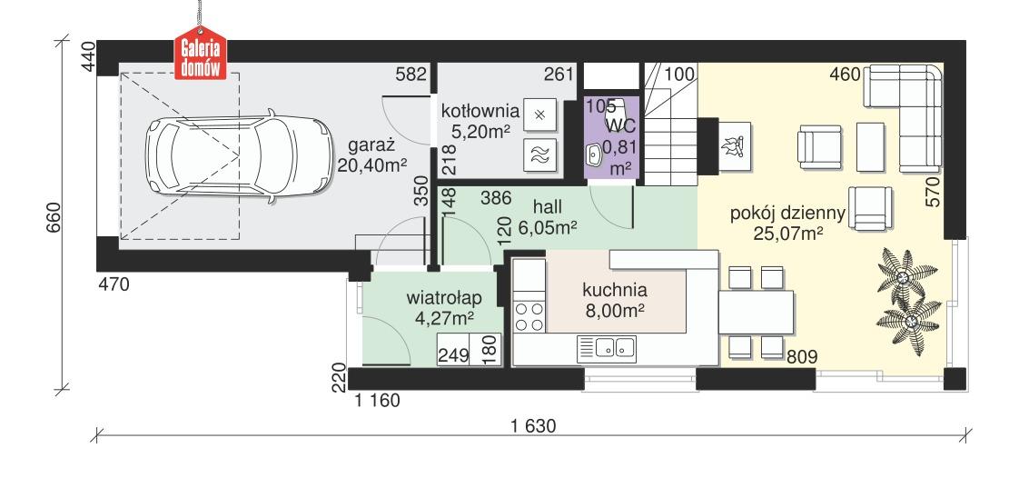 Dom przy Migdałowej - rzut parteru
