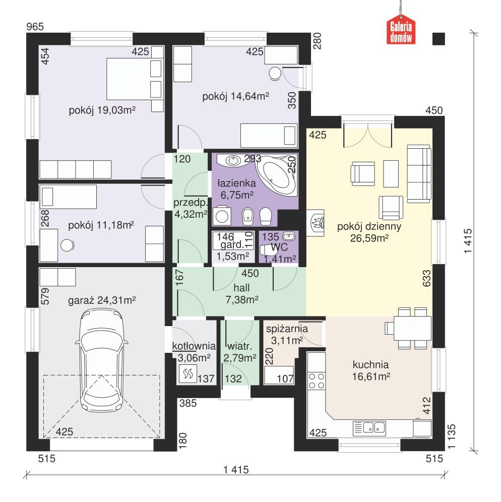Dom przy Rubinowej 3 - rzut parteru