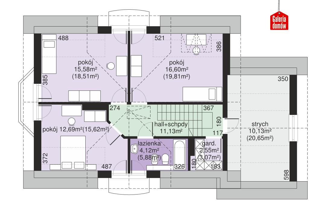 Dom przy Modrzewiowej 11 - rzut poddasza
