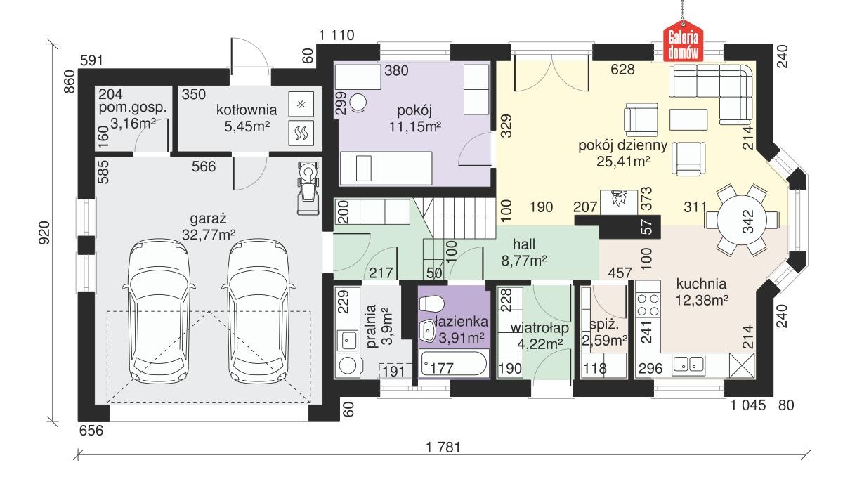 Dom przy Modrzewiowej 14 - rzut parteru