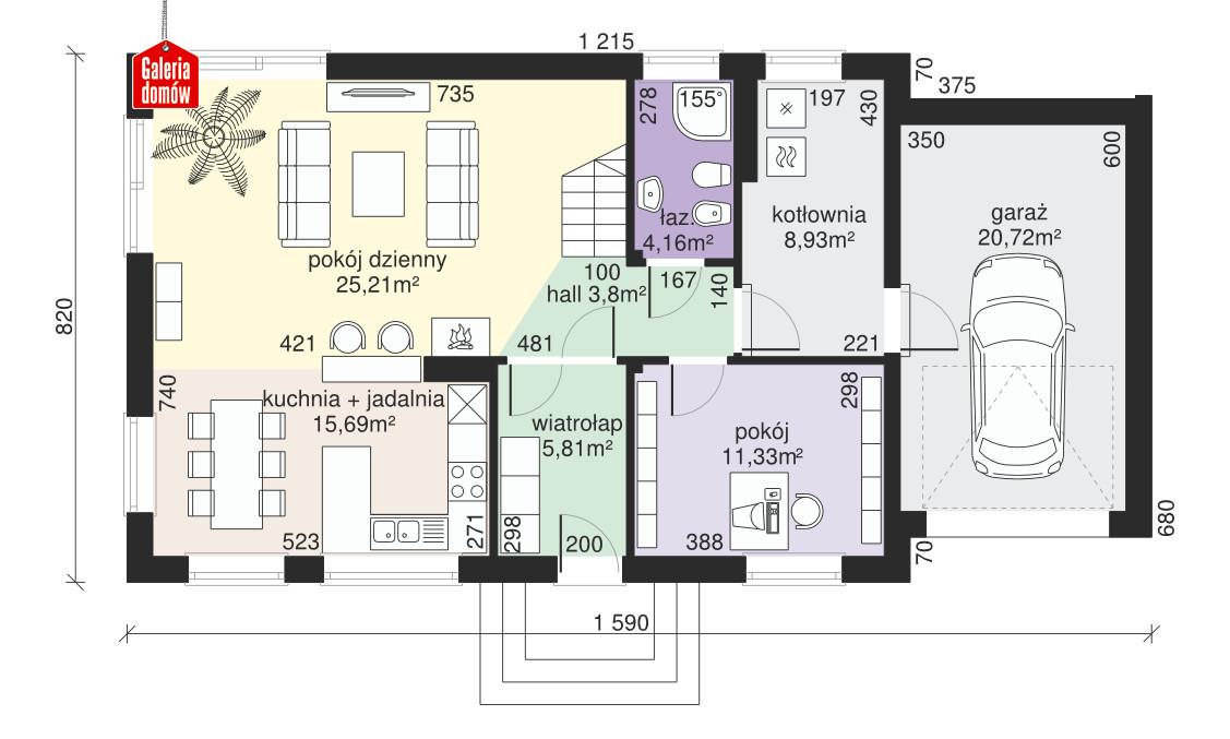 Dom przy Alabastrowej 14 - rzut parteru