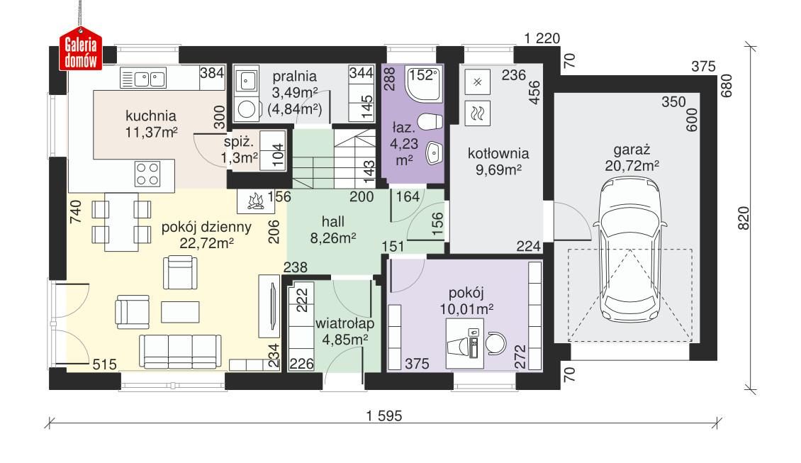 Dom przy Alabastrowej 18 - rzut parteru